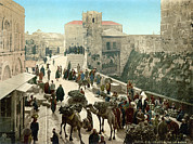 Holy Land Framed Prints - Street Of The Tower Of David Framed Print by Everett