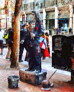 Architecture Framed Prints - Street Performer in Downtown San Francisco . 7D4246 Framed Print by Wingsdomain Art and Photography