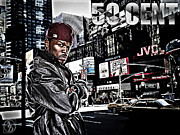 """photo-manipulation"" Mixed Media Posters - Street Phenomenon 50 Cent Poster by The DigArtisT"