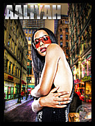Rapper Mixed Media Framed Prints - Street Phenomenon Aaliyah Framed Print by The DigArtisT