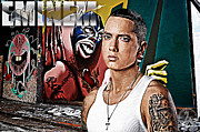 Rapper Mixed Media Framed Prints - Street Phenomenon Eminem Framed Print by The DigArtisT