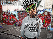 Lil Wayne Mixed Media Metal Prints - Street Phenomenon Lil Wayne Metal Print by The DigArtisT