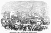 Crowd Scene Art - Street Railway, 1861 by Granger