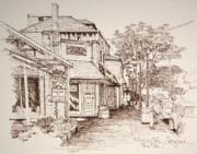 Maryland Drawings - Street Scene at Kensington Maryland by Toni Tiu