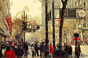 Metropolis Digital Art - Street Scene at Market Street in San Francisco California . 7D4268 by Wingsdomain Art and Photography