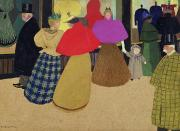 Customers Posters - Street Scene Poster by Felix Edouard Vallotton
