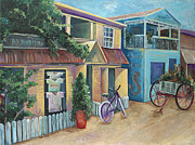 Honduras Painting Framed Prints - Street Scene in Belize Framed Print by Karen Ahuja