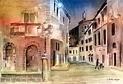 Streetscenes Paintings - Street Scene In Italy by Arline Wagner