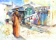Moroccan Drawings Framed Prints - Street Scene in Morocco 01 Framed Print by Miki De Goodaboom