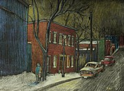 City Streets Drawings Prints - Street Scene in Pointe St. Charles Print by Reb Frost
