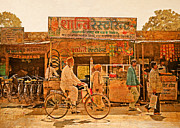 Illustrative Photo Framed Prints - Street scene India Framed Print by Karel Noppe