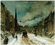 Fine American Art Posters - Street Scene with Snow Poster by Robert Henri