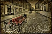 Bench Photo Metal Prints - Street Seat Metal Print by Evelina Kremsdorf