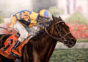 Jockey Paintings - Street Sense - Kentucky Derby 2007 by Thomas Allen Pauly