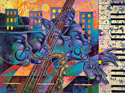 Music Art Painting Originals - Street Songs by Larry Poncho Brown