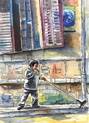 Capital Drawings - Street Sweeper in Cyprus by Miki De Goodaboom