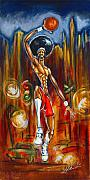 African-american Paintings - Streetball by Daryl Price