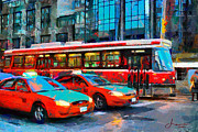 Traffic Light Digital Art Framed Prints - Streetcar and Taxi Cabs in Downtown Toronto TNM Framed Print by Vincent DiNovici