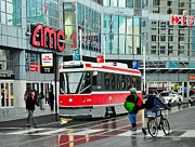 Rainy Street Painting Acrylic Prints - Streetcar on Dundas Acrylic Print by Kenneth M  Kirsch