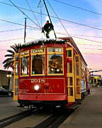 Canal Street Photos - Streetcar Sunset by Perry Webster