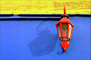 Wall Street Prints - Streetlamp With Primary Colors Print by by Felicitas Molina