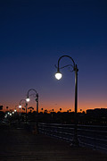 Monica Framed Prints - Streetlamps at Sunrise Framed Print by Sam Bloomberg-rissman