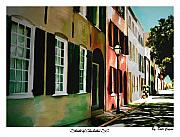 City Streets Drawings Prints - Streets of Charleston Print by Dale Cogan