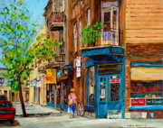 Montreal Diner Paintings - Streets Of Montreal Over 500 Prints Available By Montreal Cityscene Specialist Carole Spandau by Carole Spandau