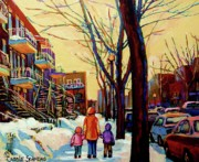 Kids Playing Hockey Paintings - Streets Of Montreal Rue Debullion  Winter In The Plateau by Carole Spandau