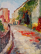 Pallet Knife Prints - Streets of Old Cannes Print by Raette Meredith
