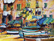 Portofino Italy Paintings - Streets of Portofino Italy by Ginette Fine Art LLC Ginette Callaway