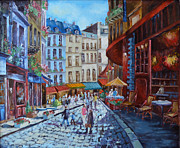 Prague Painting Framed Prints - Streets of Prague Framed Print by Julia Pankova