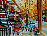 Hockey Painting Framed Prints - Streets Of Verdun Hockey Art Montreal City Scenes With Winding Staircases And Row Houses Framed Print by Carole Spandau