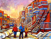 Winter Scene  For Sale Paintings - Streets Of Verdun Montreal Staircase Painting   by Carole Spandau