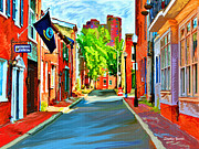 Streetscape Digital Art Acrylic Prints - Streetscape in Federal Hill Acrylic Print by Stephen Younts