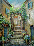 Palette Knife Art Posters - Streetscene in Old town Greece Poster by Gina Femrite