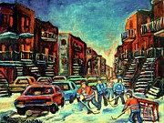 Kids Playing Hockey Paintings - Streetscenes Of Montreal Hockey Paintings By Montreal Cityscene Specialist Carole Spandau by Carole Spandau