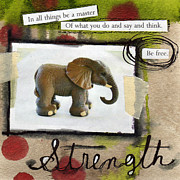 Elephant Mixed Media Posters - Strength Poster by Linda Woods