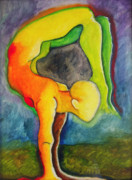 Yoga Painting Prints - Strength to move Forward and Stay Still Print by Erika Brown