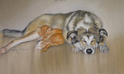 Lazy Dog Paintings - Stress Free by Leona Ottenheimer