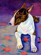 Bull Terrier Framed Prints - Stretch - Bull Terrier Framed Print by Lyn Cook