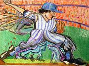 Baseball Drawings Posters - Stride Poster by Jame Hayes