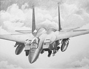 Fighter Jet Drawings - Strike Eagle by Stephen Roberson