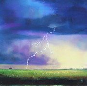 Thunderstorm Painting Framed Prints - Strike From the Heavens Framed Print by Toni Grote