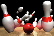 Bowling Alley Prints - Strike In A Bowling Game Print by Jose Luis Stephens