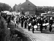 Drummers Framed Prints - Striking Coal Workers March In Wingles Framed Print by Everett