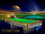 9ball Framed Prints - Striking Viking Framed Print by Draw Shots