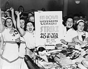 Conditions Photo Framed Prints - Striking Women Employees Of Woolworths Framed Print by Everett