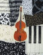 Fabric Collage Prints - String Bass Print by Loretta Alvarado