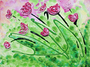 Pink Reliefs Prints - Stringy Tulips Print by Ruth Collis